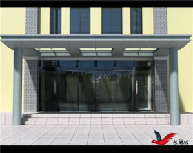 MT006小区大厦门头雨棚钢结构玻璃雨棚