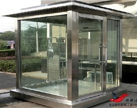 BL04方形钢结构玻璃岗亭小区门卫玻璃岗亭